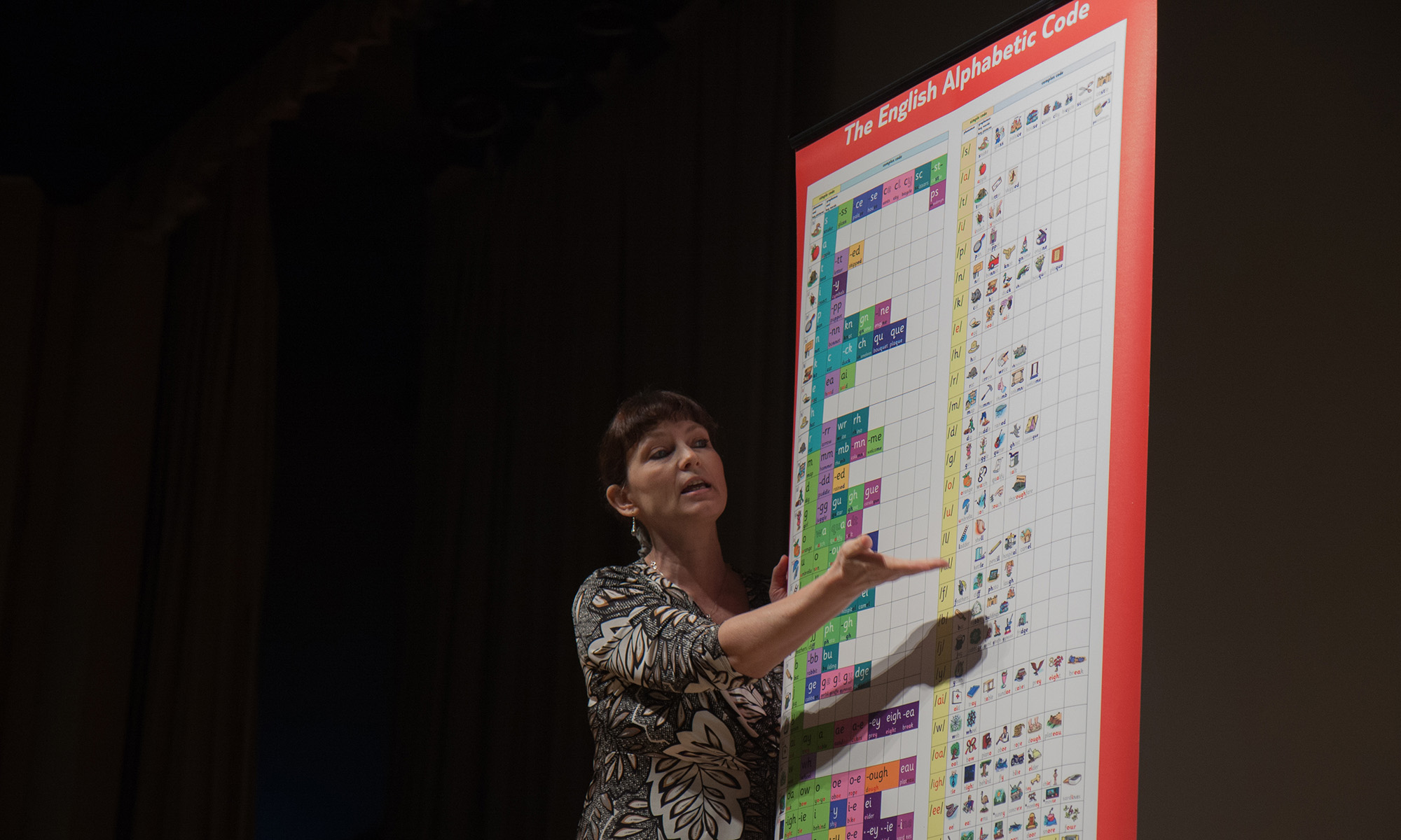 Debbie Showing Alphabetic Code Chart